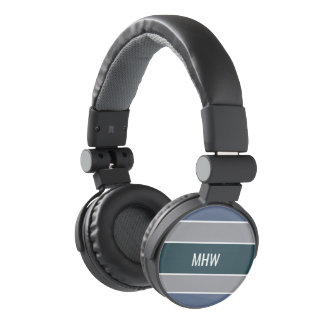 Stripes Pattern custom monogram headphones