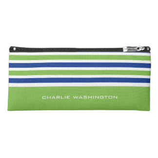 Stripes Pattern custom monogram pencil case