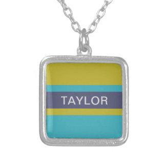 Stripes Pattern custom name necklace
