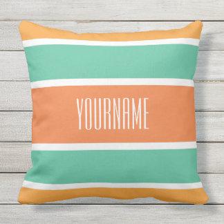 Stripes Pattern custom name throw pillows