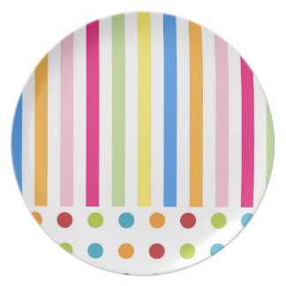 STRIPES PATTERN PLATE, COLORFUL BLUE YELLOW STRIPE PLATE