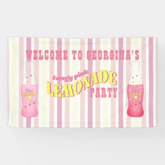 Stripes, Pink Lemonade Birthday Banner