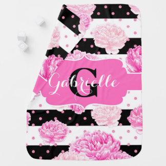 Stripes Pink Watercolor Floral Baby Girl Monogram Baby Blanket
