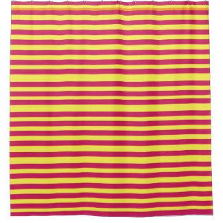 Stripes Pink Yellow Summer  pattern Shower Curtain