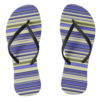 Stripes - Purple Blue Yellow Green Flip Flops