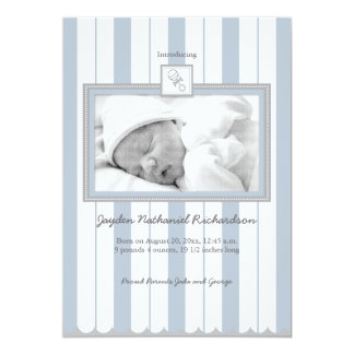 Stripes & Rattle Baby Announcement: Blue Card
