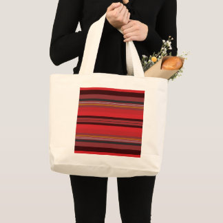 Stripes - Red Horizon Large Tote Bag
