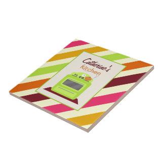 Stripes & Retro Green Stove Kitchen Tile