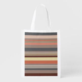 Stripes - Retro Tones Reusable Grocery Bag