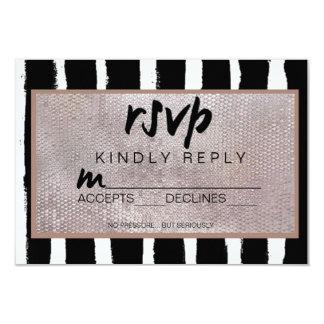 Stripes & Sequins Wedding RSVP Card