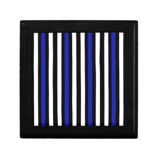 Stripes Vertical Blue Black White Gift Box