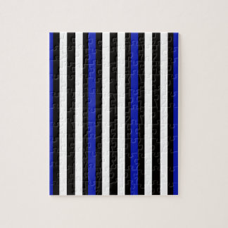 Stripes Vertical Blue Black White Jigsaw Puzzle