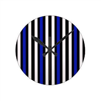 Stripes Vertical Blue Black White Round Clock