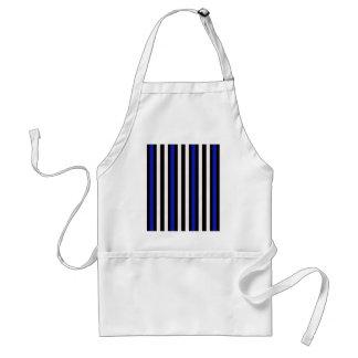 Stripes Vertical Blue Black White Standard Apron
