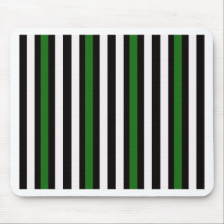 Stripes Vertical Green Black White Mouse Pad