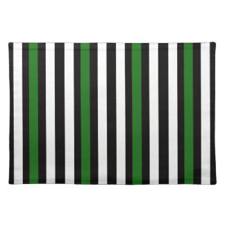 Stripes Vertical Green Black White Placemat