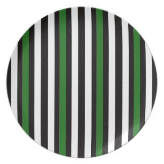 Stripes Vertical Green Black White Plate