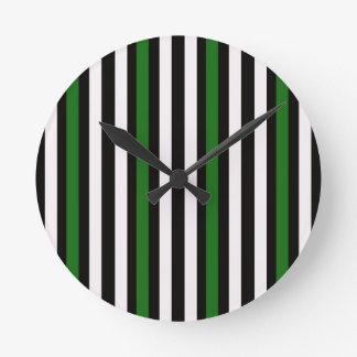 Stripes Vertical Green Black White Round Clock
