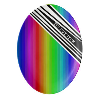 Stripes Vertical Hold Rainbow TV Color Bars Porcelain Serving Platter