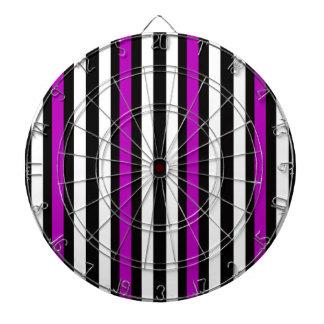 Stripes Vertical Purple Black White Dartboard