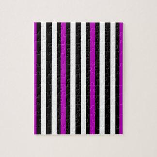 Stripes Vertical Purple Black White Jigsaw Puzzle