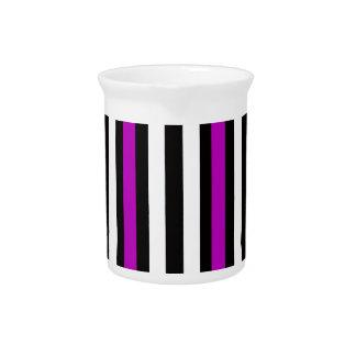 Stripes Vertical Purple Black White Pitcher