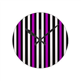Stripes Vertical Purple Black White Round Clock