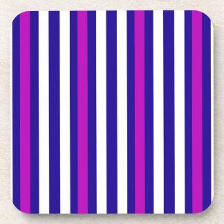 Stripes Vertical Purple Blue White Coaster