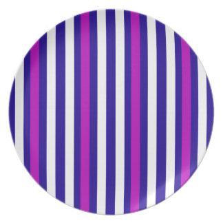 Stripes Vertical Purple Blue White Plate