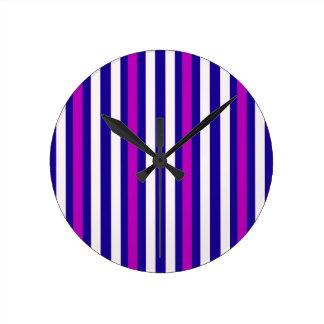 Stripes Vertical Purple Blue White Round Clock