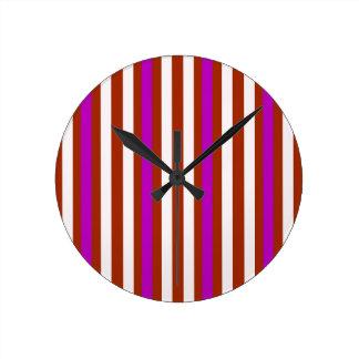 Stripes Vertical Purple Red White Round Clock