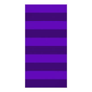 Stripes - Violet and Dark Violet Photo Card Template