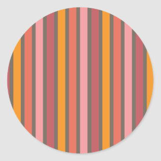 Stripes Warm Tone Round Sticker