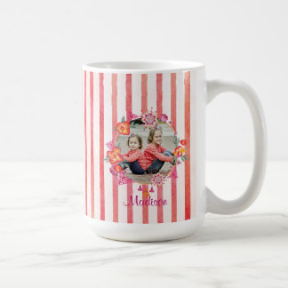 Stripes & Watercolor Floral Photo Frame Coffee Mug