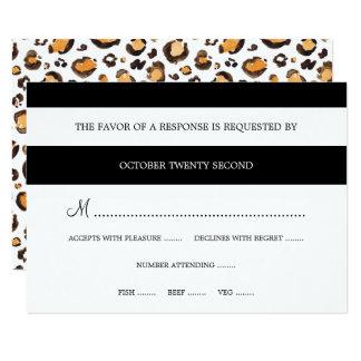 Stripes & Watercolor Leopard Print | Modern RSVP Card