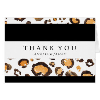 Stripes & Watercolor Leopard Spots | Thank You Card