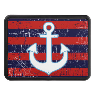 stripes & white anchor trailer hitch cover