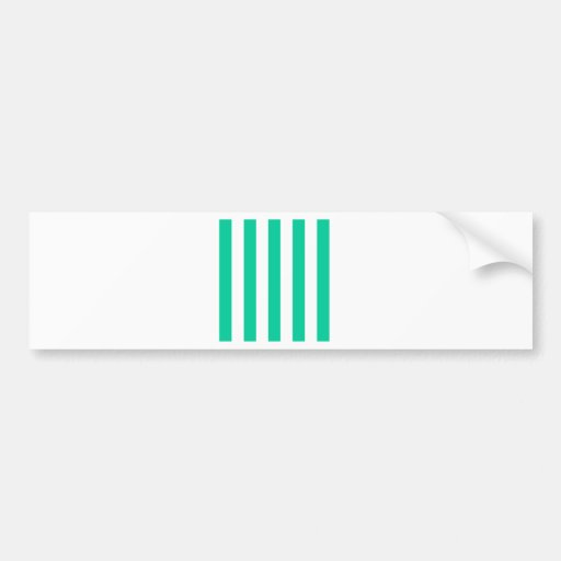 Stripes - White and Caribbean Green Bumper Stickers