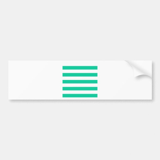 Stripes - White and Caribbean Green Bumper Sticker