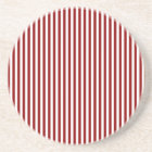 Stripes - White and Dark Red Coaster