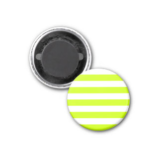 Stripes - White and Fluorescent Yellow 1 Inch Round Magnet