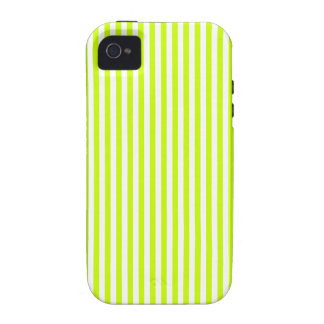Stripes - White and Fluorescent Yellow Case-Mate iPhone 4 Cases