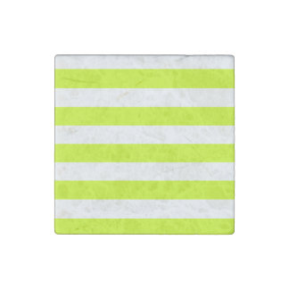 Stripes - White and Fluorescent Yellow Stone Magnet