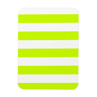 Stripes - White and Fluorescent Yellow Rectangular Photo Magnet