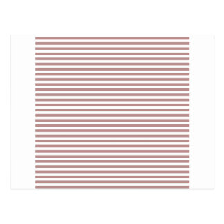 Stripes - White and Rosy Brown Post Card