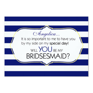 Stripes Will You Be My Bridesmaid Invitation