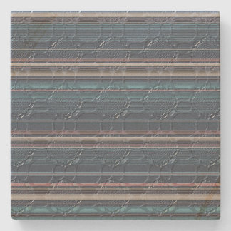 Stripes With Patterned Texture Stone Coaster
