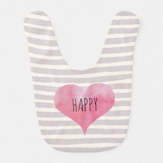 Stripey Happy Heart Bib