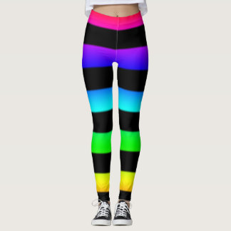 Stripey Rainbow And Black Leggings