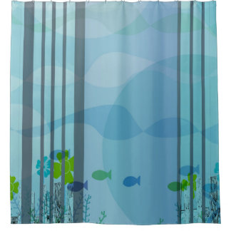 Strips Aqua Blue and Fish Shower Curtain
